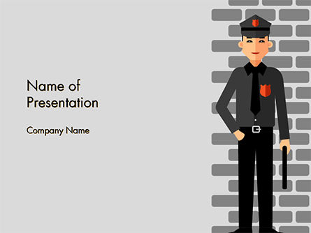 Legal: Security Guard Illustration PowerPoint Template #14755