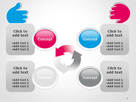 Like and Unlike Hand PowerPoint Template Slide 9