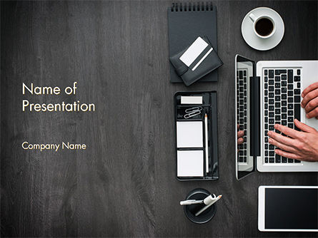 Manager is working at Office Desk PowerPoint Template, 14768, Business — PoweredTemplate.com