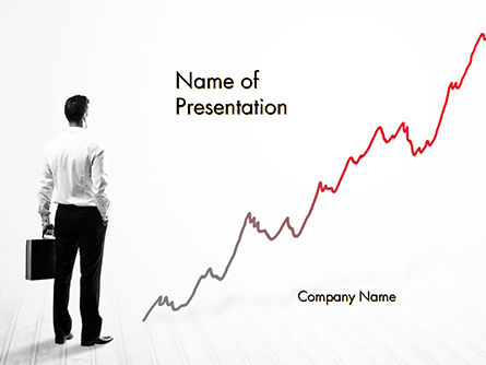 Consulting: Business Person Looking at Growing Graph Chart PowerPoint Template #14771