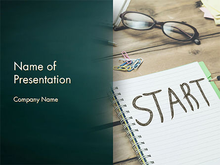Business Concepts: Start Text on Notepad PowerPoint Template #14775