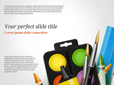 Background With School Supplies PowerPoint Template