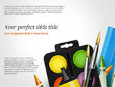 3D: Background With School Supplies PowerPoint Template #14788