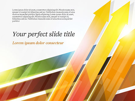 Upward Colored Arrows with Reflections PowerPoint Template, 14795, Abstract/Textures — PoweredTemplate.com