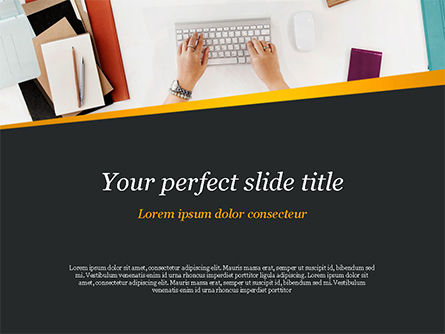 Top View of Woman Working on Computer PowerPoint Template, 14797, Business — PoweredTemplate.com