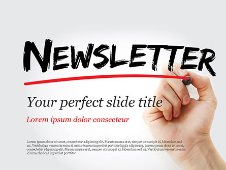 A Hand Writing Newsletter with Marker PowerPoint Template, 14800, Careers/Industry — PoweredTemplate.com