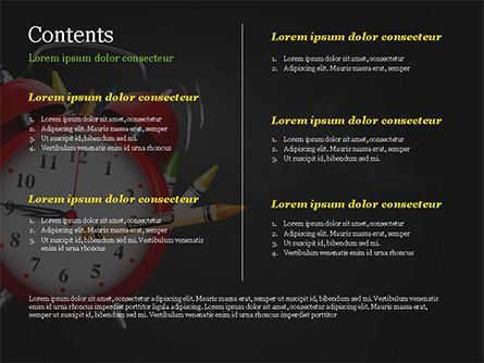 Alarm Clock and Crayons PowerPoint Template, Slide 2, 14802, Education & Training — PoweredTemplate.com