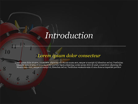 Alarm Clock and Crayons PowerPoint Template, Slide 3, 14802, Education & Training — PoweredTemplate.com