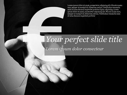 Financial/Accounting: Businessman Holding Euro Sign PowerPoint Template #14806