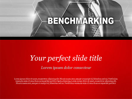 Man Starting Benchmarking Process PowerPoint Template, 14809, Business Concepts — PoweredTemplate.com