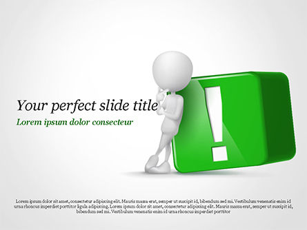 3D Human And Green Exclamation Mark Cube PowerPoint Template