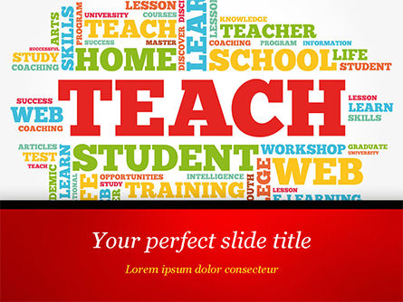 Teach Word Cloud PowerPoint Template, 14816, Education & Training — PoweredTemplate.com