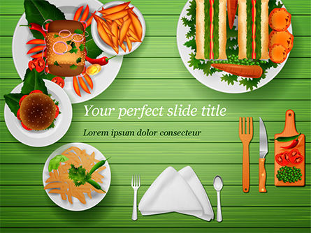 Snack Table PowerPoint Template, 14822, Food & Beverage — PoweredTemplate.com