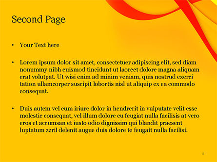 Red and Yellow Curves PowerPoint Template, Slide 2, 14824, Abstract/Textures — PoweredTemplate.com