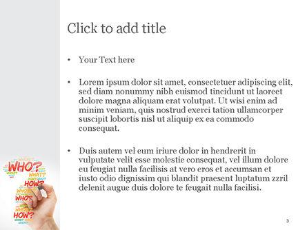 A Hand Writing Questions PowerPoint Template, Slide 3, 14829, Education & Training — PoweredTemplate.com