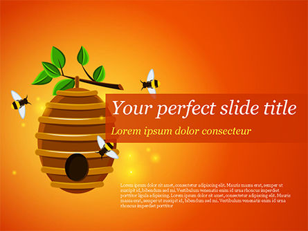 Food & Beverage: Beehive and Bees Illustration PowerPoint Template #14830