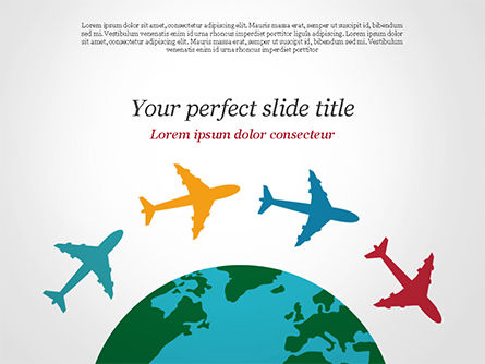 Airplane Travel Concept PowerPoint Template, 14836, Global — PoweredTemplate.com