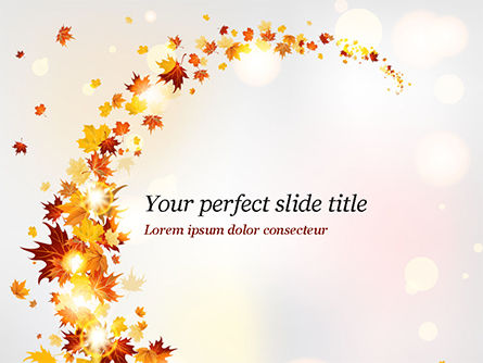 Autumn Leaves and Sunbeams PowerPoint Template, 14839, Nature & Environment — PoweredTemplate.com