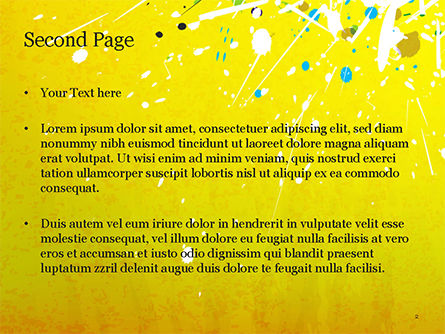 Paint Stains on Yellow Background PowerPoint Template, Slide 2, 14840, Abstract/Textures — PoweredTemplate.com