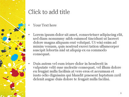 Paint Stains on Yellow Background PowerPoint Template, Slide 3, 14840, Abstract/Textures — PoweredTemplate.com