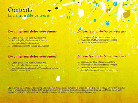 Paint Stains on Yellow Background PowerPoint Template Slide 2