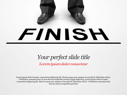 Businessman Standing on Finish Line PowerPoint Template