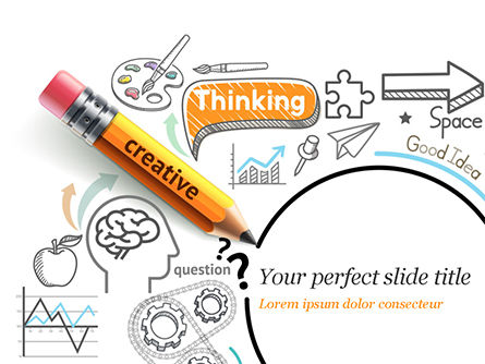 Creative Thinking Doodles PowerPoint Template, 14842, Business Concepts — PoweredTemplate.com