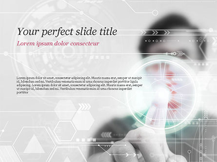 Technology and Science: Engineer Touching High-Tech Screen PowerPoint Template #14843