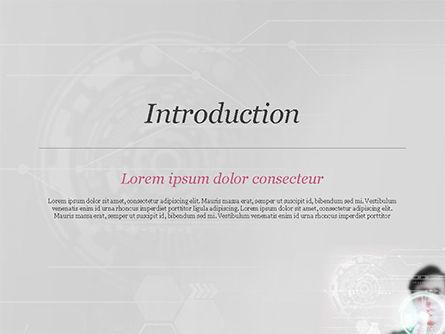 Engineer Touching High-Tech Screen PowerPoint Template, Slide 3, 14843, Technology and Science — PoweredTemplate.com