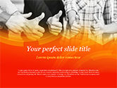 Business: Five Business Partners Keeping Thumbs Up PowerPoint Template #14847