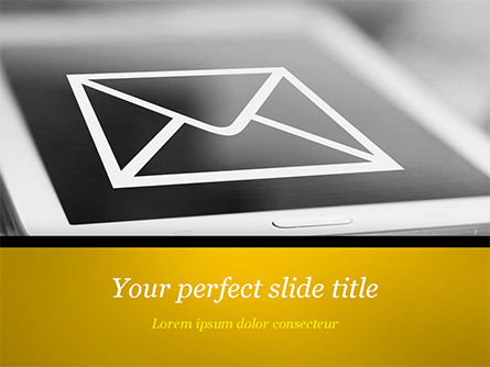 Telecommunication: Email Icon on Smartphone PowerPoint Template #14849