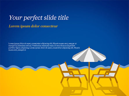 Holiday/Special Occasion: Beach Chairs with Umbrella Illustration PowerPoint Template #14852