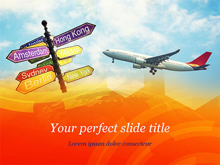 Directional Cities And Airplane in The Sky PowerPoint Template, 14888, Careers/Industry — PoweredTemplate.com