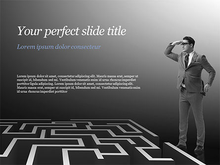 Man Trying to Reach a Result Through Maze PowerPoint Template, 14902, Business Concepts — PoweredTemplate.com