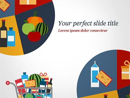 Shopping Trolley of Food PowerPoint Template, 14913, Careers/Industry — PoweredTemplate.com