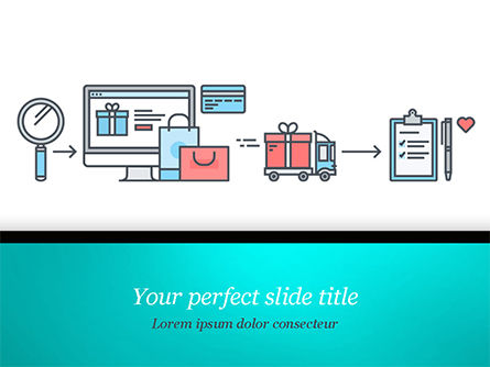 commerce concept in flat design powerpoint template, backgrounds, Powerpoint templates