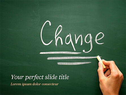 Blackboard Concept for The Word Change PowerPoint Template, 14924, Education & Training — PoweredTemplate.com