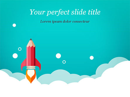 Pencil Rocket Takeoff PowerPoint Template, 14933, Business Concepts — PoweredTemplate.com