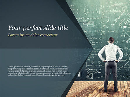 Education & Training: Man Looking at the Chalkboard with Formulas PowerPoint Template #14938