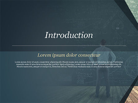 Man Looking at the Chalkboard with Formulas PowerPoint Template, Slide 3, 14938, Education & Training — PoweredTemplate.com