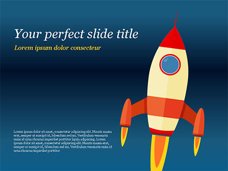Business Concepts: Cartoon Flying Rocket PowerPoint Template #14970