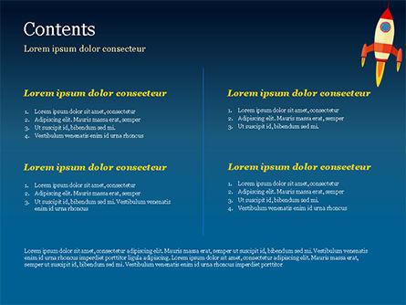 Cartoon Flying Rocket PowerPoint Template, Slide 2, 14970, Business Concepts — PoweredTemplate.com