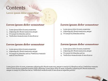 Hand Giving Bitcoin PowerPoint Template, Slide 2, 14973, Business — PoweredTemplate.com