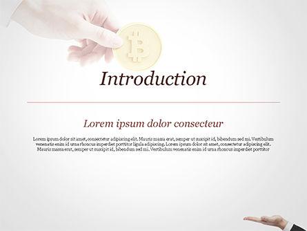 Hand Giving Bitcoin PowerPoint Template, Slide 3, 14973, Business — PoweredTemplate.com