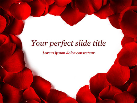 Beautiful Heart of Red Rose Petals PowerPoint Template, 14975, Holiday/Special Occasion — PoweredTemplate.com