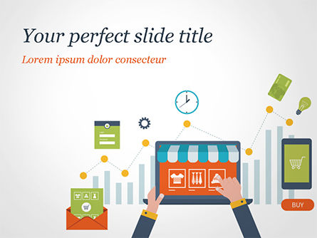 Online Shopping and Management Concept PowerPoint Template, 14976, Business — PoweredTemplate.com
