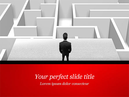 Business Concepts: Businessman Staring at Infinite Maze PowerPoint Template #14978