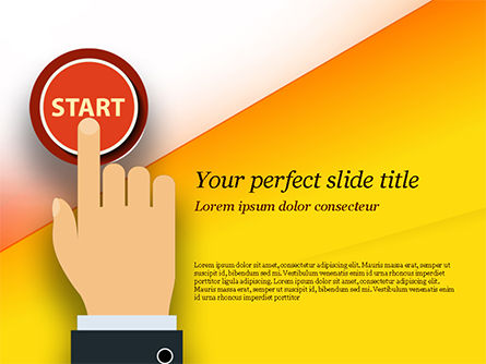 Hand Pressing Red Start Button PowerPoint Template, 14983, Business Concepts — PoweredTemplate.com
