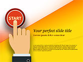 Business Concepts: Hand Pressing Red Start Button PowerPoint Template #14983
