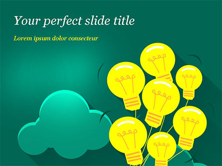 Flying Light Bulbs Powerpoint Template Backgrounds 14990